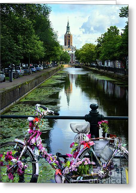 Greeting Card featuring the photograph Canal And Decorated Bike In The Hague by RicardMN Photography