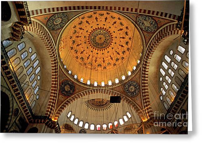 Decorated Dome And Windows Inside The Suleymaniye Mosque In Istanbul Greeting Card by Sami Sarkis