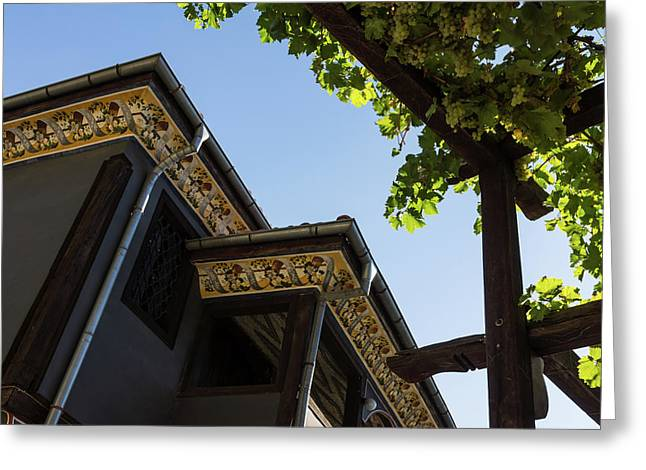 Decorated Eaves And Grapes Trellis - Old Town Plovdiv Bulgaria Greeting Card by Georgia Mizuleva