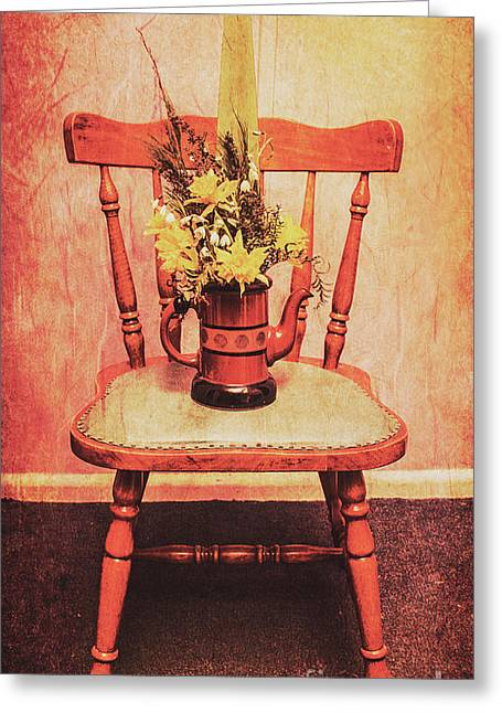 Decorated Flower Bunch On Old Wooden Chair Greeting Card