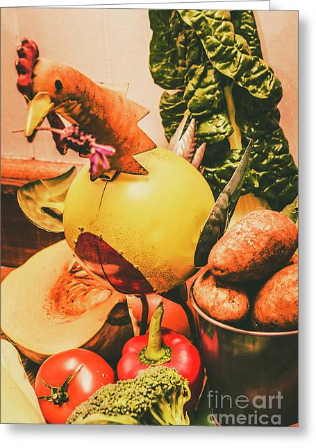 Decorated Organic Vegetables Greeting Card