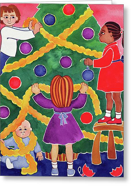 Decorating The Christmas Tree Greeting Card by Cathy Baxter