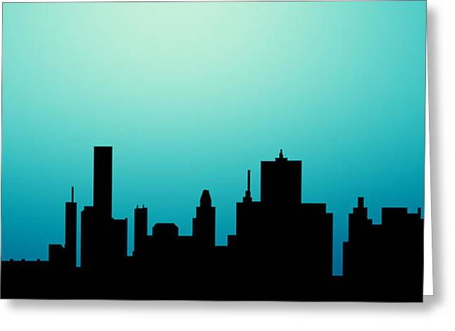 Decorative Abstract Skyline Houston R1115a Greeting Card