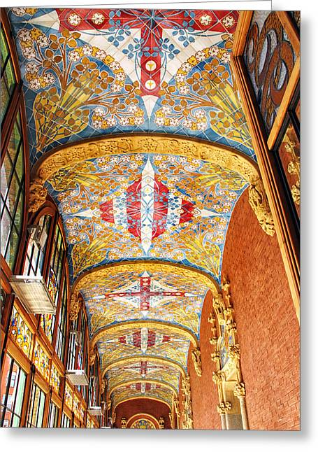 Decorative Ceiling At Sant Pau Greeting Card by Dave Mills