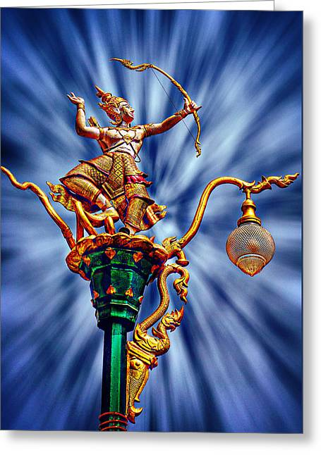 Decorative City Lamp Post Khon Kaen-thailand Greeting Card by Ian Gledhill