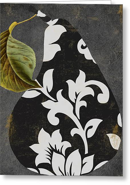 Decorative Damask Pear II Greeting Card by Mindy Sommers