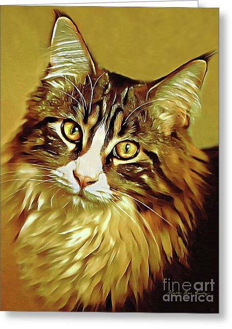 Greeting Card featuring the digital art Decorative Digital Painting Maine Coon A71518 by Mas Art Studio