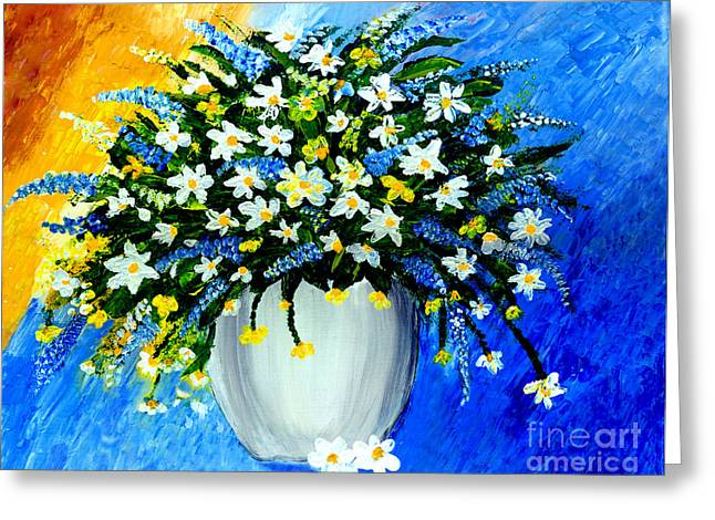 Greeting Card featuring the painting Decorative Floral Acrylic Painting G62017 by Mas Art Studio