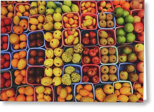 Decorative Fruits Pattern In Vietnam Greeting Card