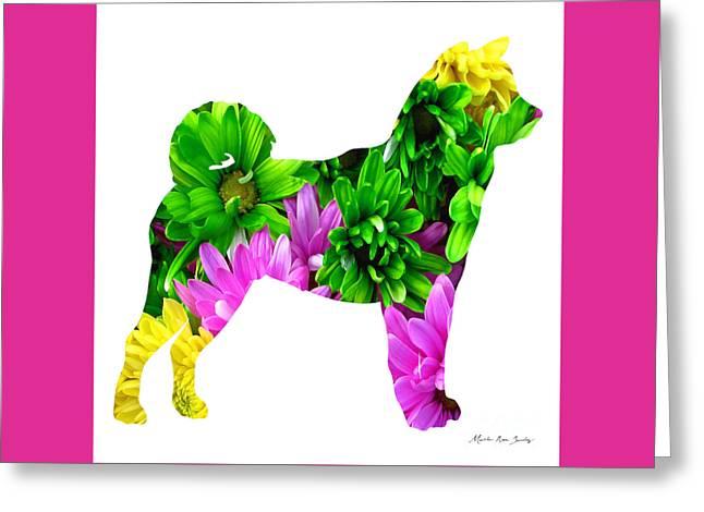 Decorative Husky Abstract O1015d Greeting Card by Mas Art Studio