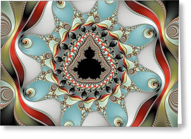 Decorative Mandelbrot Fractal Red Blue Olive Greeting Card