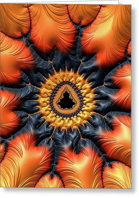 Greeting Card featuring the digital art Decorative Mandelbrot Set Warm Tones by Matthias Hauser