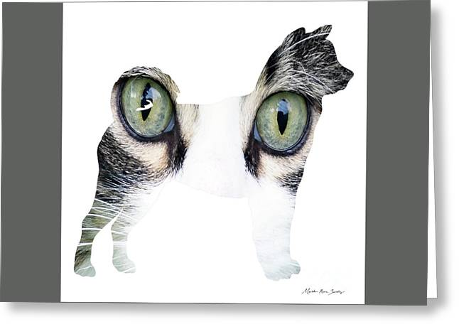 Decorative Mixed Media Abstract Husky O33117c Greeting Card by Mas Art Studio