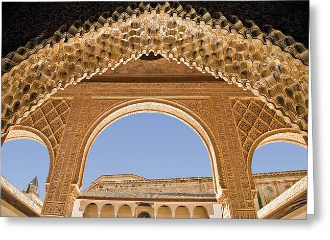 Decorative Moorish Architecture In The Nasrid Palaces At The Alhambra Granada Spain Greeting Card by Mal Bray
