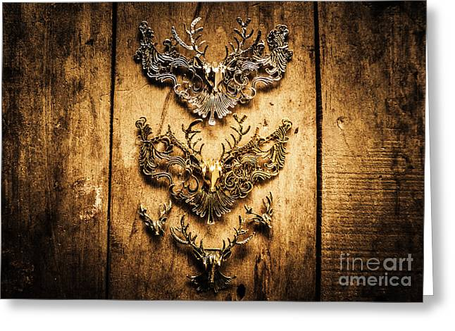 Decorative Moose Emblems Greeting Card