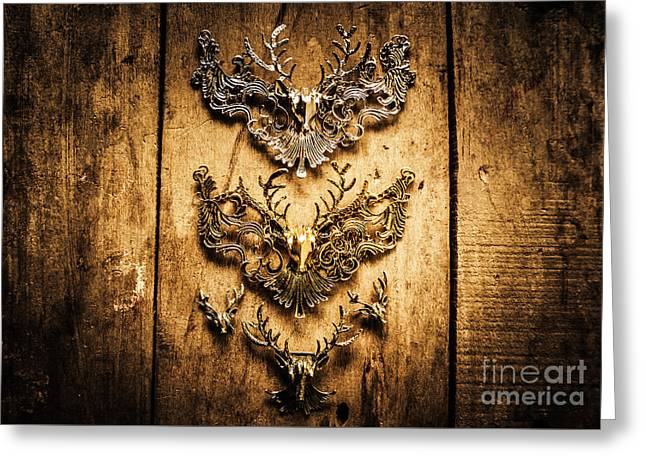 Decorative Moose Emblems Greeting Card