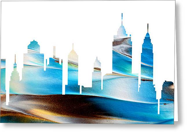 Decorative Skyline Abstract New York P1015a Greeting Card
