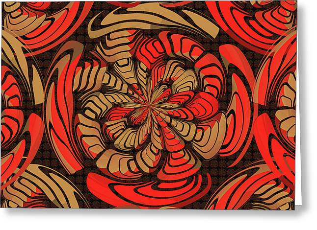 Decorative Red And Brown Greeting Card by Gaspar Avila