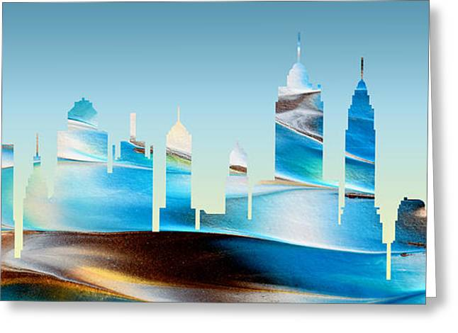 Decorative Skyline Abstract New York P1015b Greeting Card