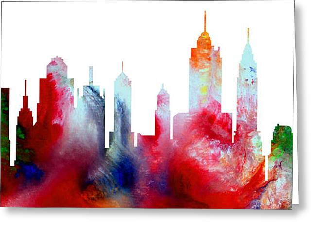 Decorative Skyline Abstract New York P1015c Greeting Card