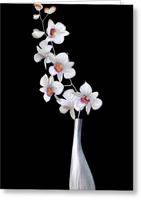 Decorator Set-orchids Silver Greeting Card by Brent Rowlett