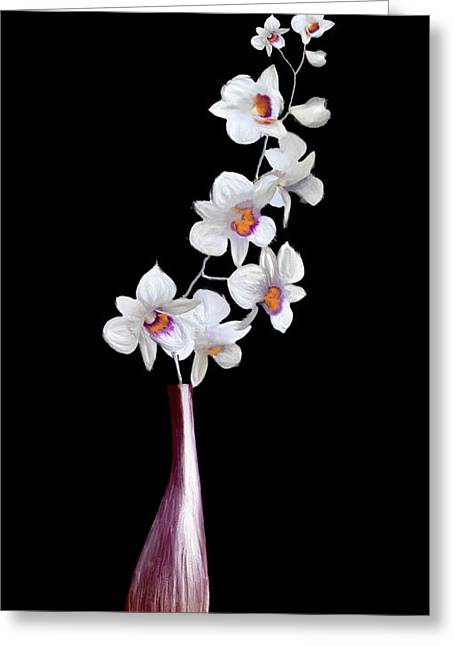 Decorator Set-orchids Wine Greeting Card by Brent Rowlett