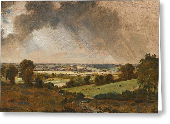 Dedham Vale. View To Langham Church From The Fields Just East Of Vale Farm East Bergholt Greeting Card by John Constable