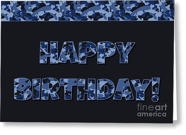 Greeting Card featuring the digital art Deep Blue Camo Birthday by JH Designs