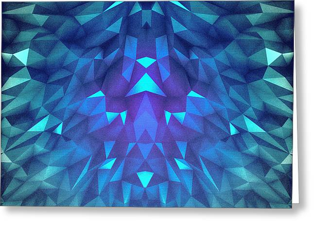 Deep Blue Collosal Low Poly Triangle Pattern  Modern Abstract Cubism  Design Greeting Card