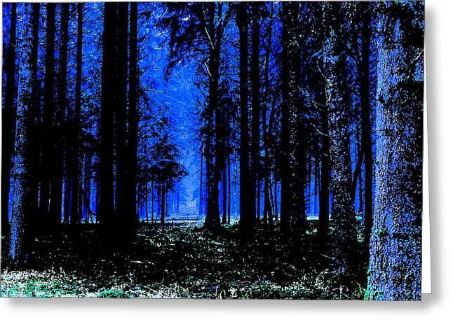 Deep Blue  Forest 2 Greeting Card