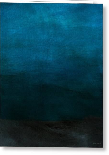 Deep Blue Mood- Abstract Art By Linda Woods Greeting Card