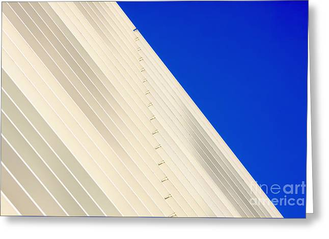 Deep Blue Sky And Office Building Wall Greeting Card
