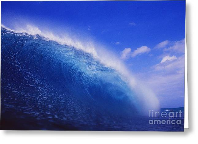Deep Blue Wave Curls Greeting Card by Vince Cavataio - Printscapes