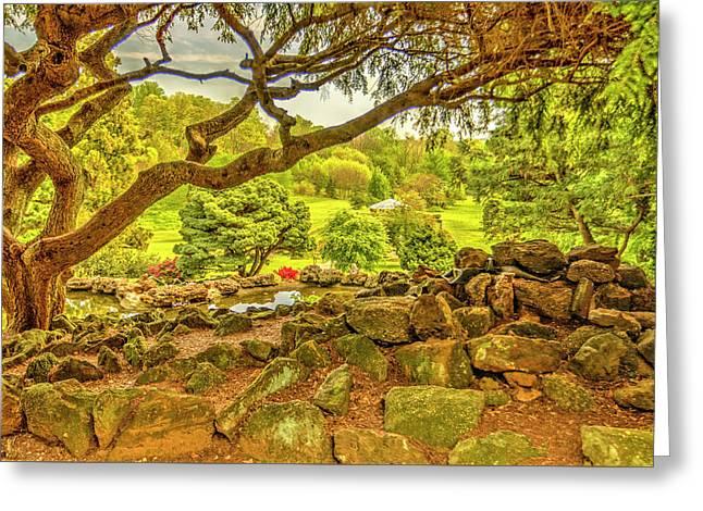 Deep Cuts Garden Gazebo And Landscape Greeting Card