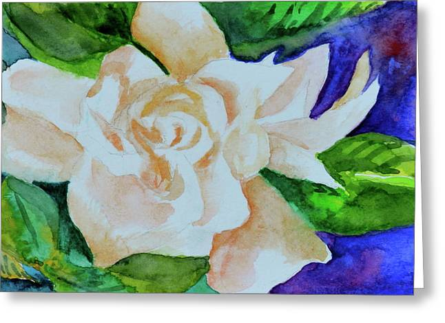 Greeting Card featuring the painting Deep Gardenia by Beverley Harper Tinsley