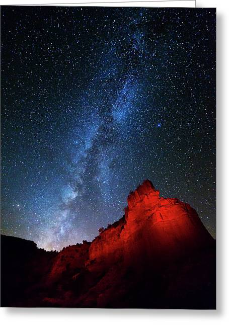 Milky Way And Caprock Bison Monument Greeting Card by Stephen Stookey