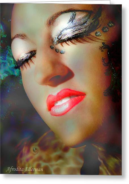 Lip Pyrography Greeting Cards - Deep in the sea Greeting Card by Afrodita Ellerman