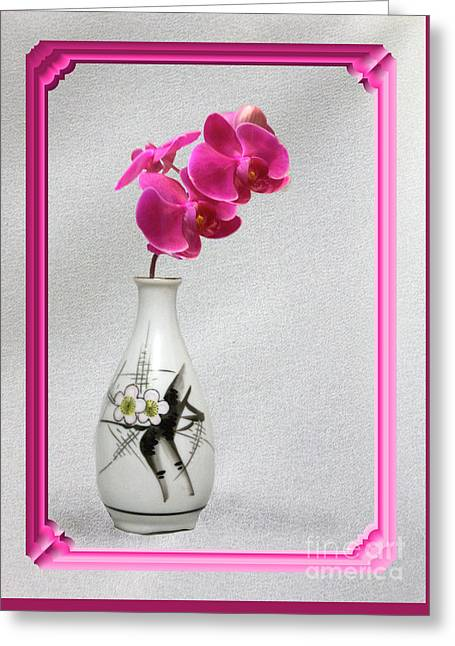 Greeting Card featuring the photograph Deep Pink  Orchids by Linda Phelps