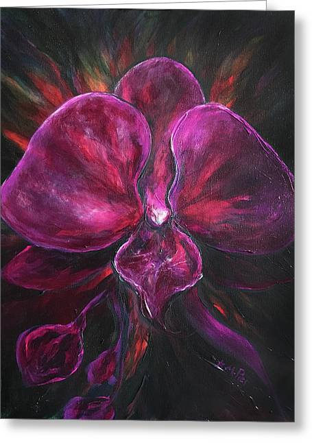 Deep Purple Orchid Greeting Card