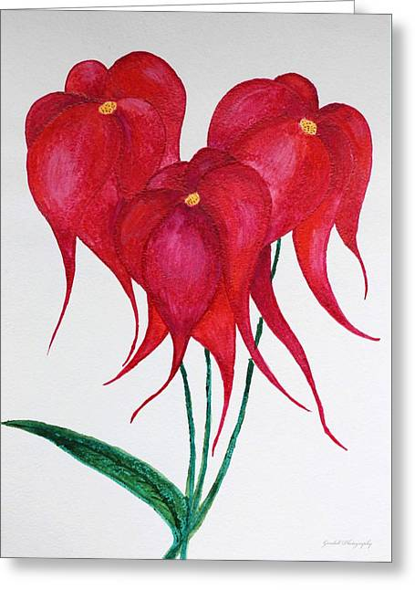 Deep Red Melody Greeting Card by Iryna Goodall