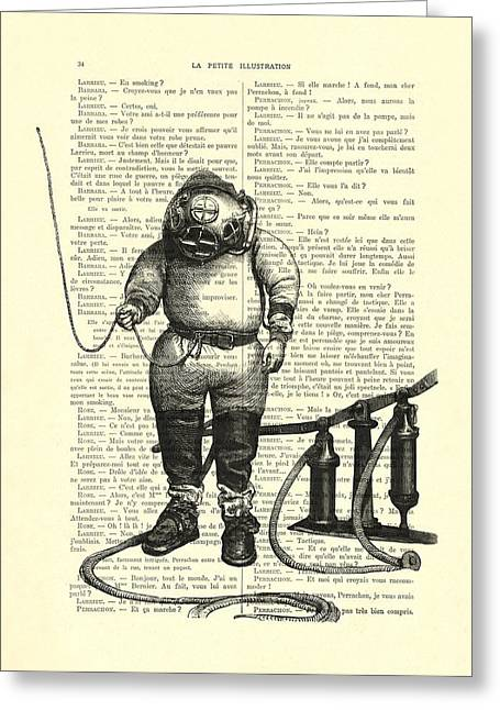 Deep Sea Diver Greeting Card by Madame Memento