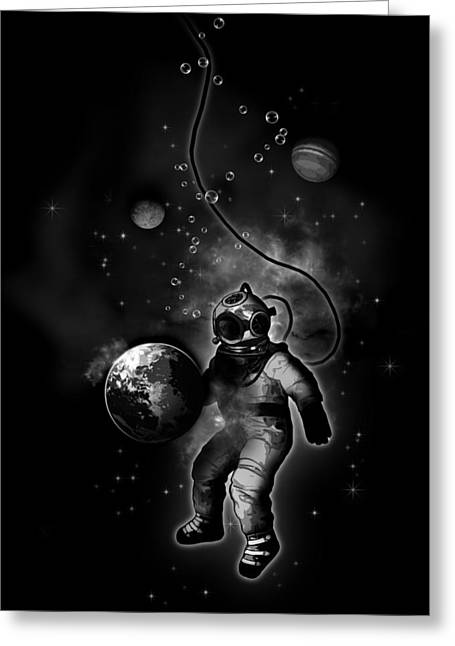 Astronauts Mixed Media Greeting Cards - Deep Sea Space Diver Greeting Card by Nicklas Gustafsson