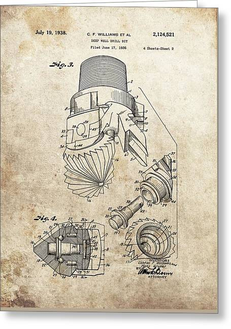 Deep Well Drill Bit Patent Greeting Card by Dan Sproul
