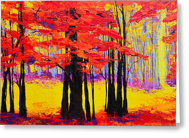 Deep Within - Enchanted Forest Collection - Modern Impressionist Landscape Art - Palette Knife Greeting Card by Patricia Awapara