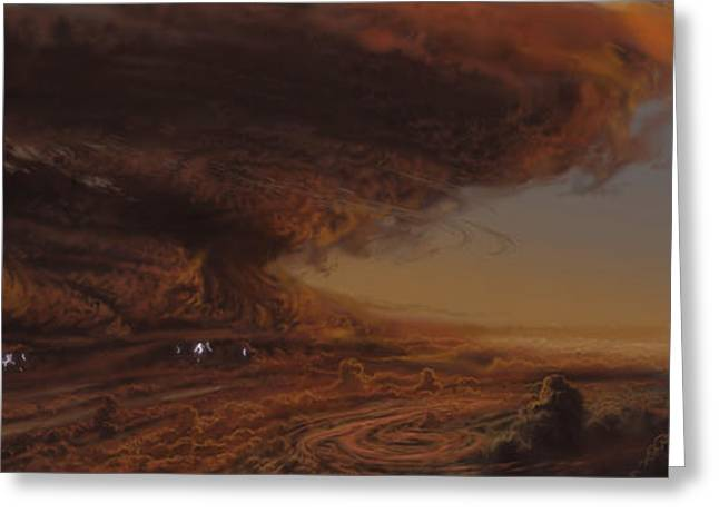 Astrogeology Greeting Cards - Deep Within The Raging Storm That Greeting Card by Ron Miller