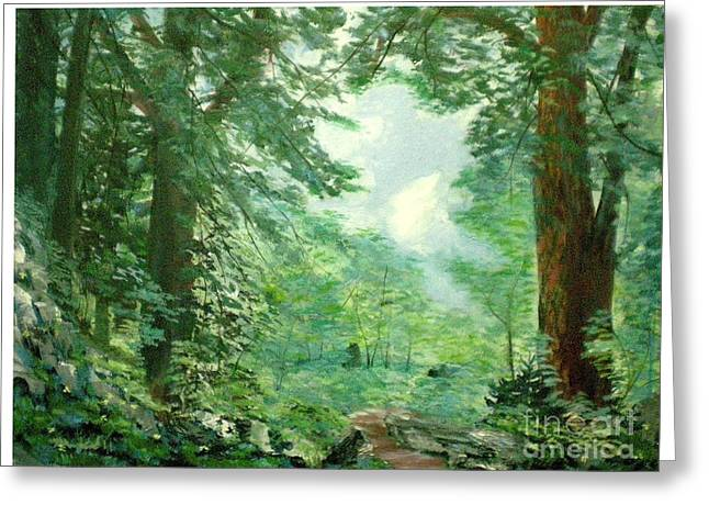 Deep Woods Path Greeting Card by Hal Newhouser