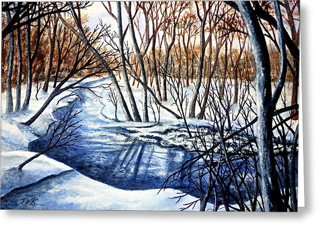 Greeting Card featuring the painting Deep Woods Wisconsin by Thomas Kuchenbecker