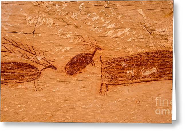 Deer And Bison Pictograph - Horseshoe Canyon - Utah Greeting Card