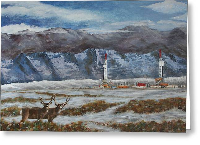Deer And Drilling Rig Greeting Card by Karen Peterson