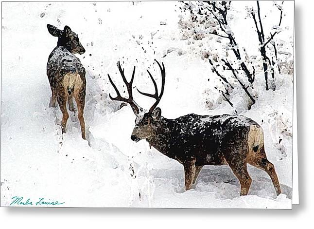 Deer And Snow 1 Greeting Card by Marla Louise